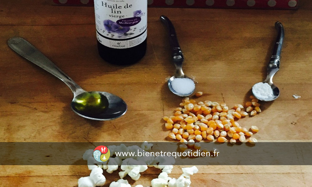 Photo prise par bien être quotidien des ingrédients pop Corn Omega 3