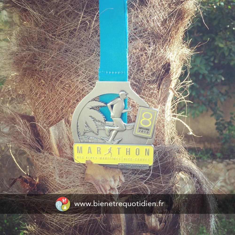Médaille du marathon de Nice 2015